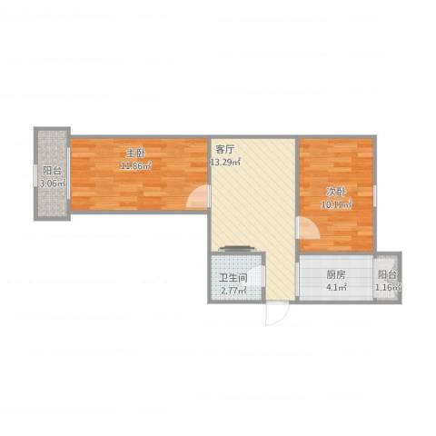 文静里2室1厅1卫1厨63.00㎡户型图
