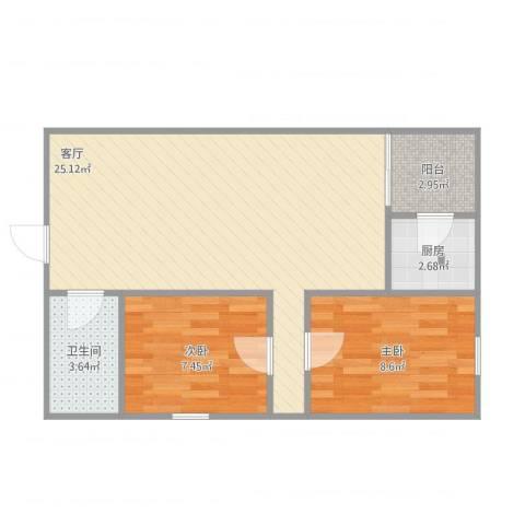 红星小区2室1厅1卫1厨68.00㎡户型图