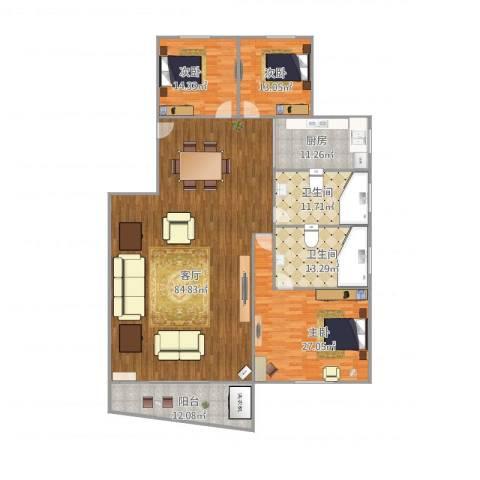 金秋花园三期3室1厅2卫1厨246.00㎡户型图