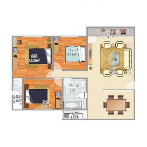 俊雅苑3室1厅2卫1厨102.00㎡户型图