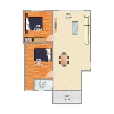 龙脊石油小区2室1厅1卫1厨99.00㎡户型图