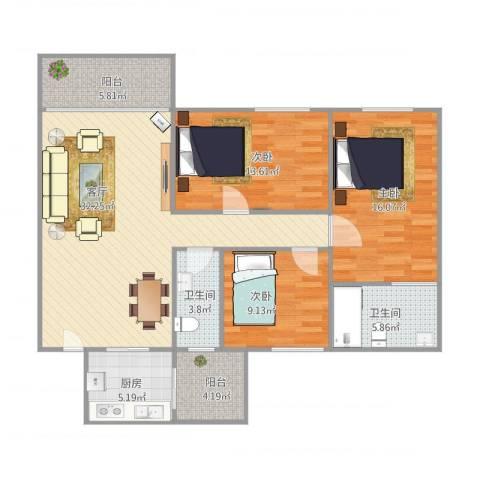 盈翠华苑3室1厅2卫1厨129.00㎡户型图