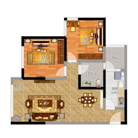德阳市望龙东郡2室1厅1卫1厨84.00㎡户型图