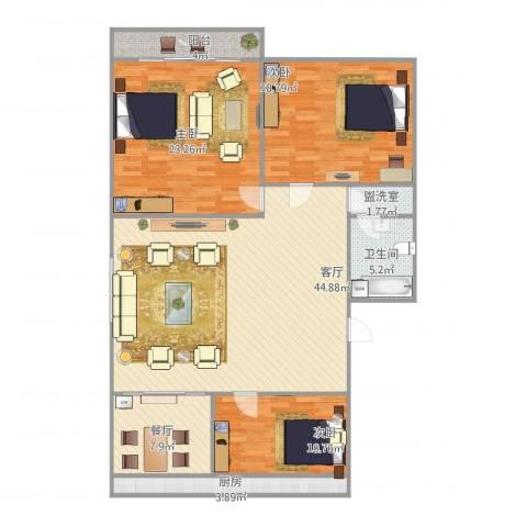 师范小区3室3厅1卫1厨161.00㎡户型图
