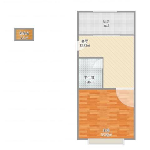 上南十村1室1厅1卫1厨61.00㎡户型图