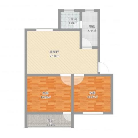 鑫远湘府华城2室1厅1卫1厨102.00㎡户型图