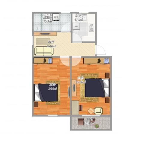 学前二村2室1厅1卫1厨68.00㎡户型图