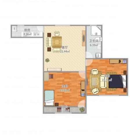 五四公路1120号2室1厅1卫1厨104.00㎡户型图