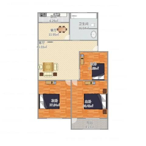 七里堡小区3室2厅1卫1厨211.00㎡户型图
