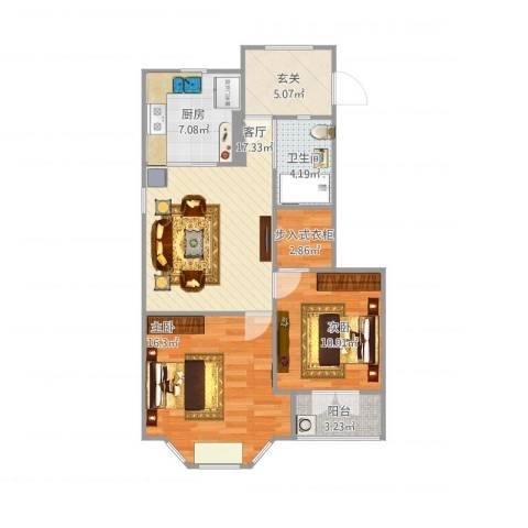 红山路190号2室1厅1卫1厨91.00㎡户型图