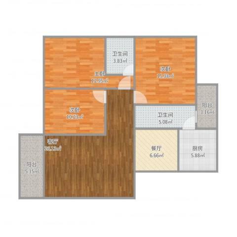恒基花园3室2厅2卫1厨128.00㎡户型图