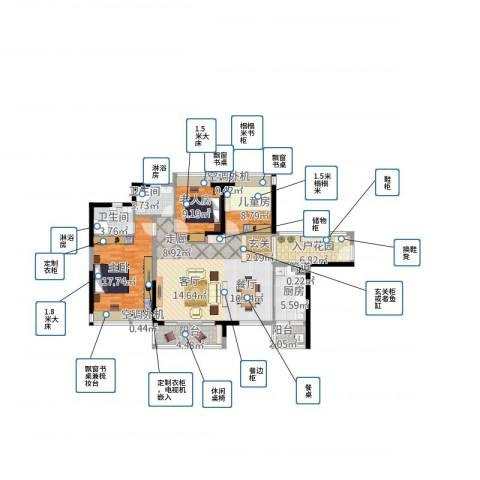 海伦堡・海伦春天3室1厅2卫1厨140.00㎡户型图