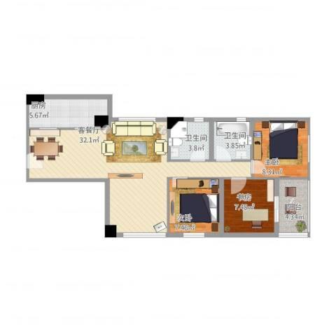 穗园小区3007-201211233室1厅2卫1厨105.00㎡户型图