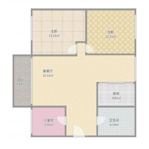 东方广场3室1厅1卫1厨105.00㎡户型图