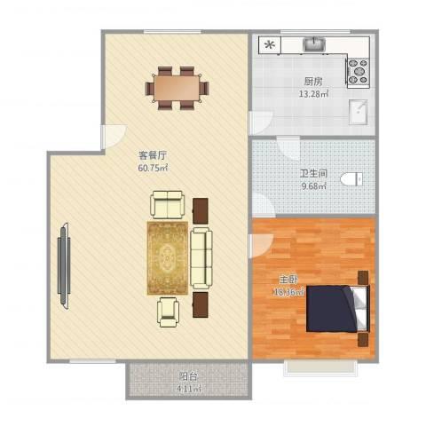 金田花园1室1厅1卫1厨139.00㎡户型图