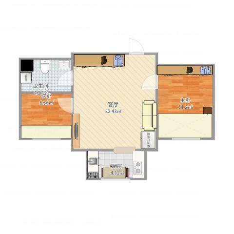 昌隆世家2室1厅1卫1厨66.00㎡户型图