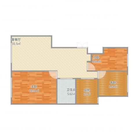 中海凤凰熙岸3室1厅1卫1厨108.00㎡户型图