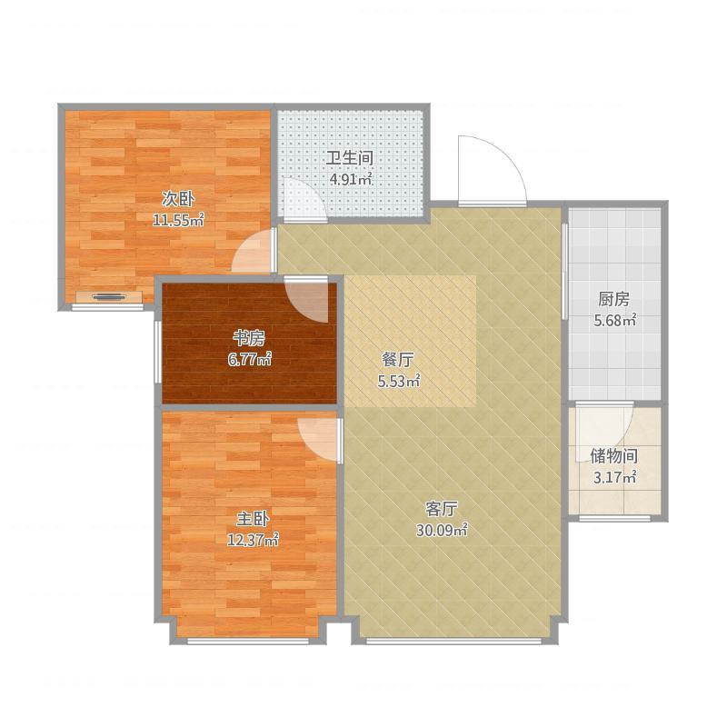 融创中央学府100平米3室2厅1卫户型图