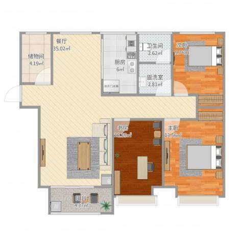 魅力熙郡3室2厅1卫1厨120.00㎡户型图