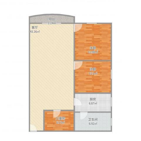 碧翠豪城3室1厅1卫1厨123.00㎡户型图