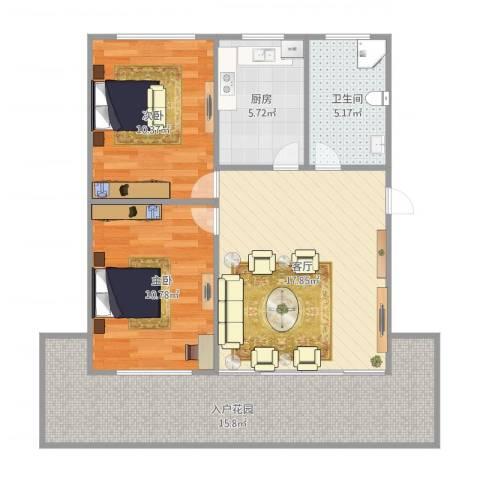 绿川公寓2室1厅1卫1厨89.00㎡户型图