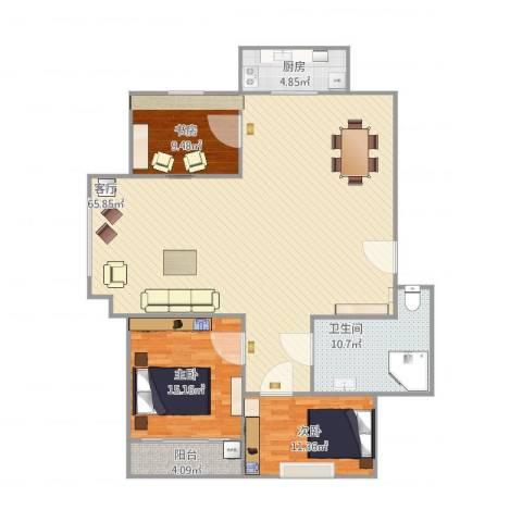 牛旺小区3室1厅1卫1厨161.00㎡户型图