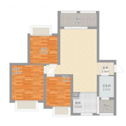 英郦庄园・曼城3室1厅2卫1厨96.00㎡户型图