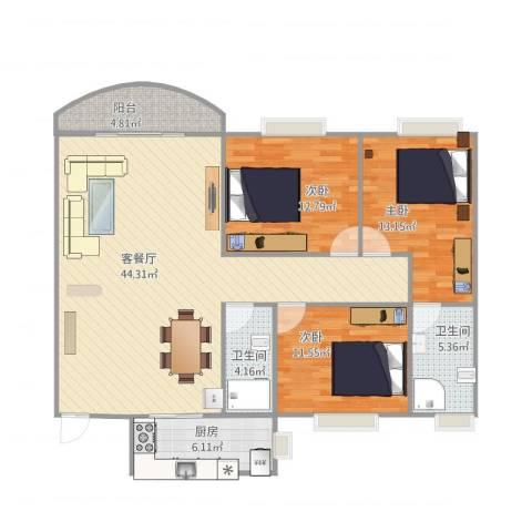 俊雅苑3室1厅2卫1厨137.00㎡户型图