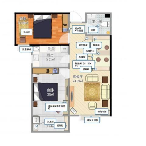 紫睿天和2室1厅1卫1厨81.00㎡户型图