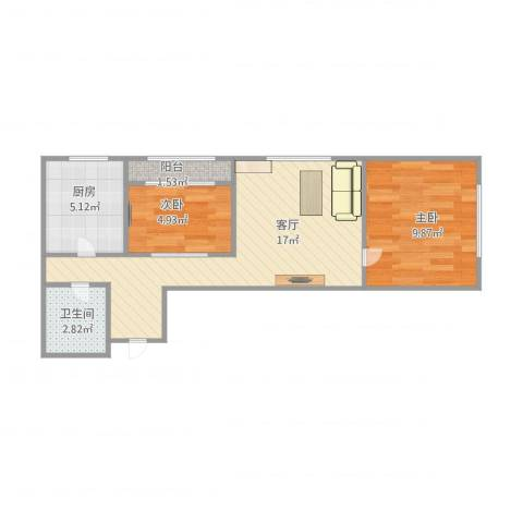 馆驿街新区2室1厅1卫1厨45.59㎡户型图
