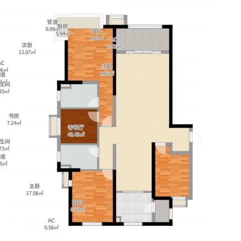 美的城4室1厅2卫1厨166.00㎡户型图
