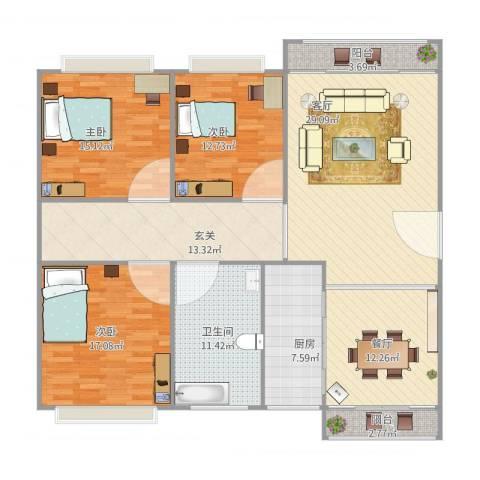 未名园16号3室2厅1卫1厨168.00㎡户型图