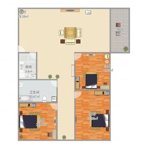俊雅苑3室1厅1卫1厨213.00㎡户型图