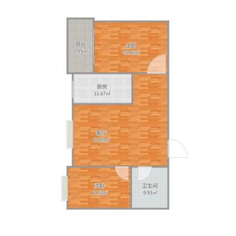 秦和花苑2室1厅1卫1厨159.00㎡户型图