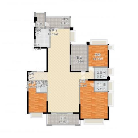 天骄御峰3室1厅3卫1厨299.00㎡户型图