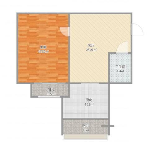 丹尼尔金色时代公寓1室1厅1卫1厨97.00㎡户型图