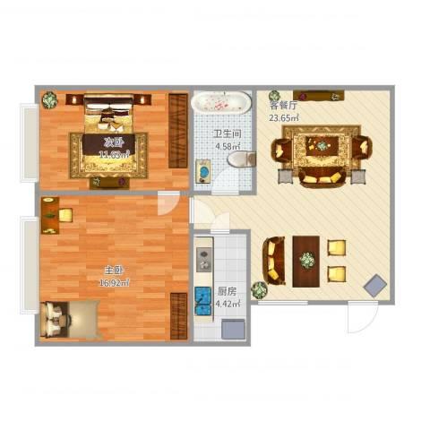 西罗园南里2室1厅1卫1厨82.00㎡户型图