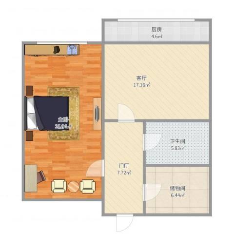 马栏北街1室1厅1卫1厨91.00㎡户型图