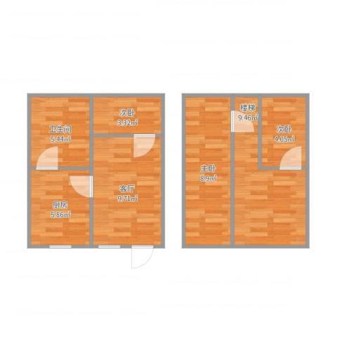 渝北区龙凤花园3室1厅1卫1厨51.53㎡户型图
