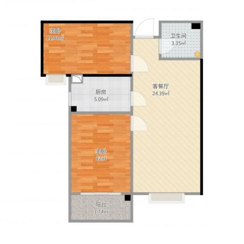 紫睿天和2室1厅1卫1厨89.00㎡户型图