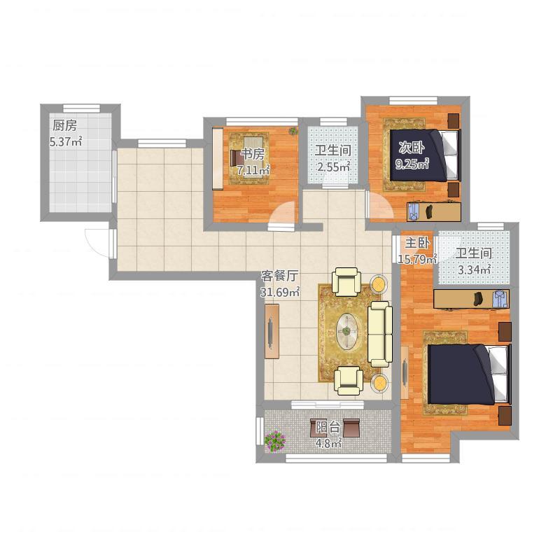 66栋108平米三房两厅