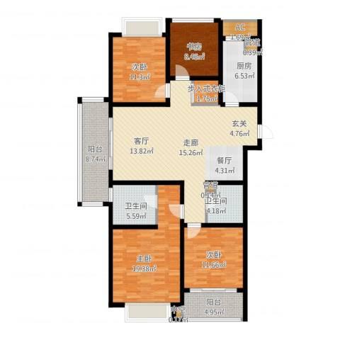 龙湖时代天街4室1厅2卫1厨178.00㎡户型图