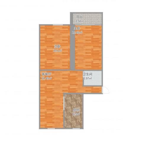 艮园2室1厅1卫1厨88.00㎡户型图
