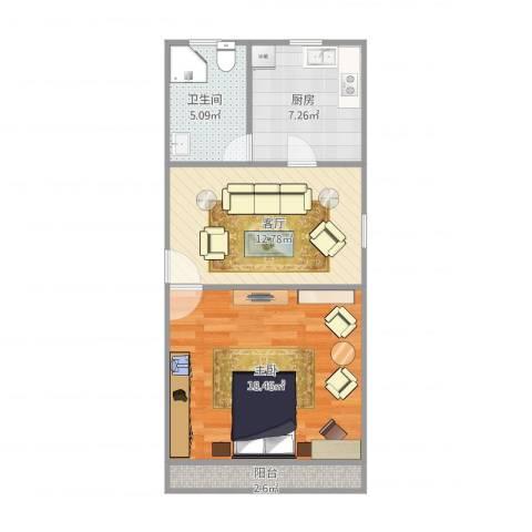 五四公路1120号1室1厅1卫1厨62.00㎡户型图
