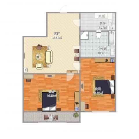 玉函路单位宿舍2室1厅1卫1厨140.00㎡户型图