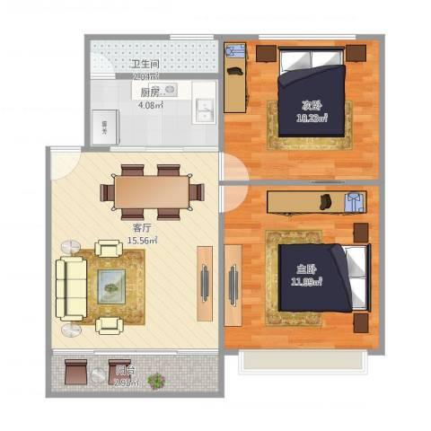 罗村花苑2室1厅1卫1厨64.00㎡户型图