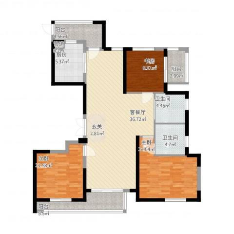 象山丹桂花园3室1厅2卫1厨141.00㎡户型图