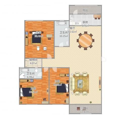 环卫局宿舍3室1厅2卫1厨263.00㎡户型图