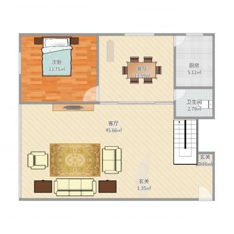 吉祥双子星大厦1室2厅1卫1厨108.00㎡户型图