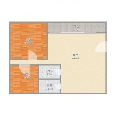唐园2室1厅1卫1厨118.00㎡户型图